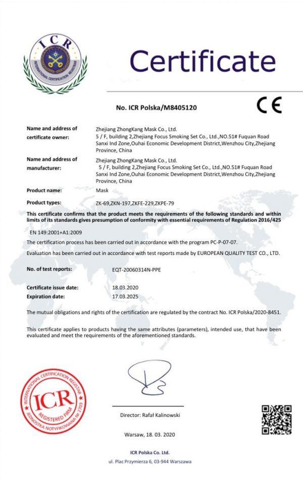 Certificazione FFP2 EN 149:2001 + A1:200